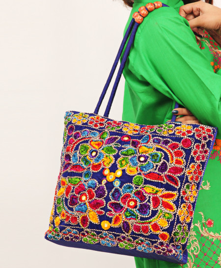 D Blue Aari Embroidered Trendy Ladies Handbag VL-718