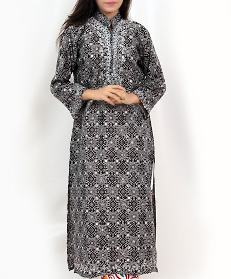 Black Dotted Embroidered Trendy Kurti VL-722