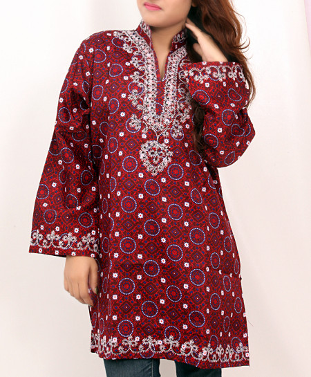 Maroon Embroidered Neck Trendy Short Kurti VL-723