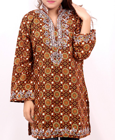 Rusty Embroidered Neck Trendy Short Kurti VL-724