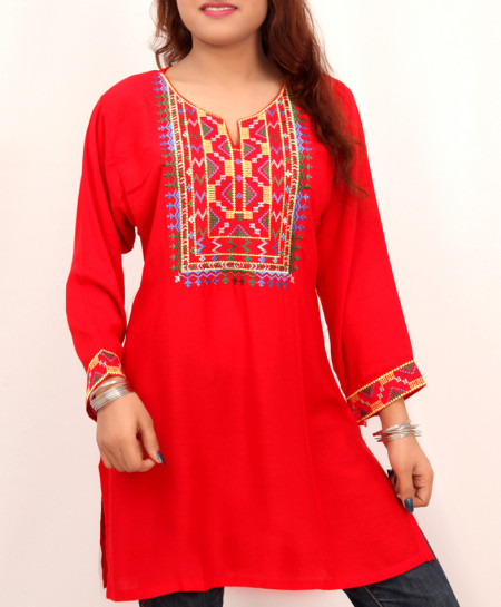 Red Embroidered Neck Trendy Short Kurti VL-729