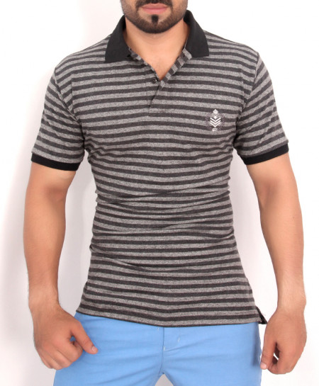 Black Grey Striped Polo Shirt QZS-160