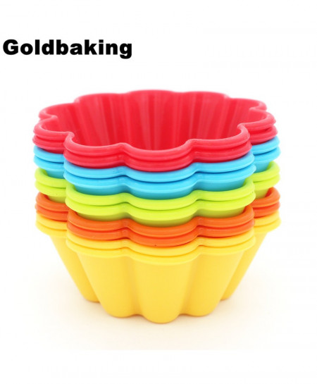 GoldBaking 10 Piece Thick Silicone Cupcake Mold Flower Cake Baking Moulds