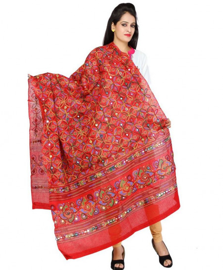 True Red Aari Work Stylish Dupatta DK-041