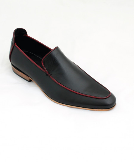 Corio Black Leather Loafer Style Shoes CSR-JC-134