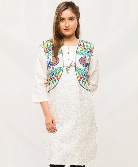White Embroidered Stylish Ladies Cotty MBK-050