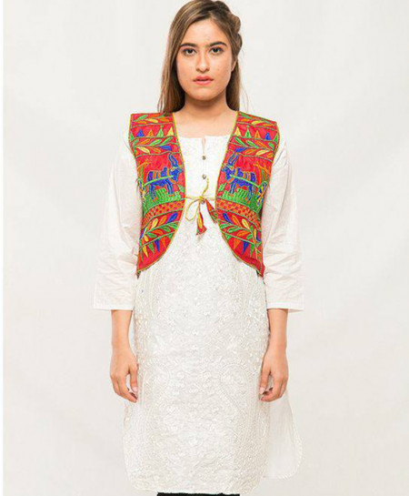 Red Embroidered Stylish Ladies Cotty MBK-051