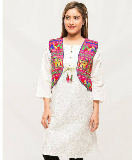 Pink Embroidered Stylish Ladies Cotty MBK-052