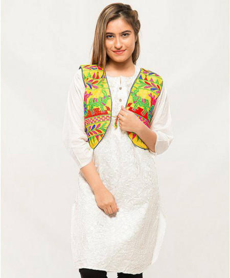 Yellow Embroidered Stylish Ladies Cotty MBK-054