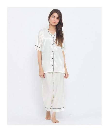 896b4a202a Buy Ivory Satin Silk Tipping 2 Piece Nightsuit VRI-PJ10 IV online in ...