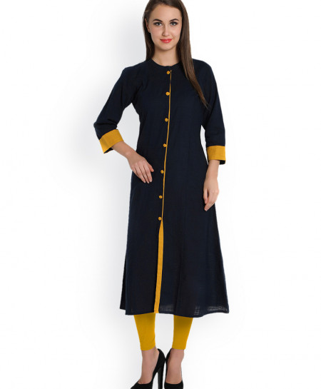 Navy Blue Front Button Style Ladies Kurti FLK-255