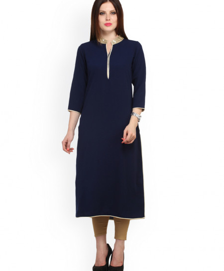 Navy Tipping Neck A Line Style Ladies Kurti FLK-259