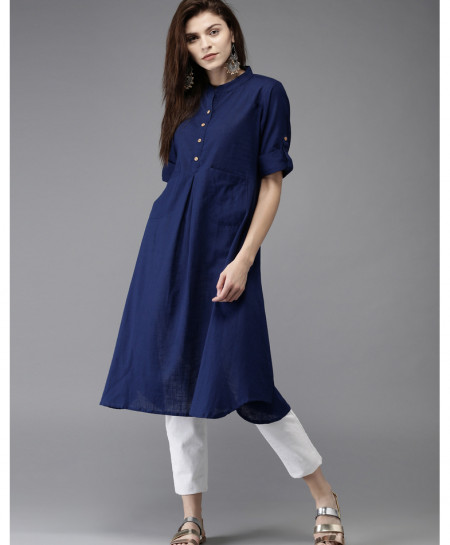 Navy Dual Pocket Frock Style Ladies Kurti FLK-260