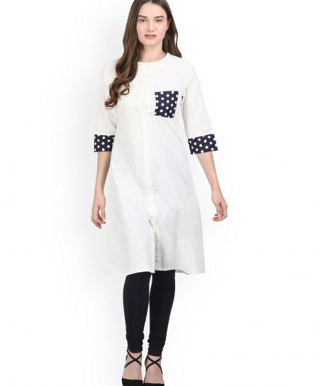 White Dotted Pocket Contrast Style Ladies Kurti FLK-261