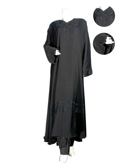 Dark Gray Elegant Design Abaya SJ-7978