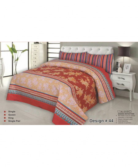 Orange Elegant Floral Cotton Bedsheet SJ-8000