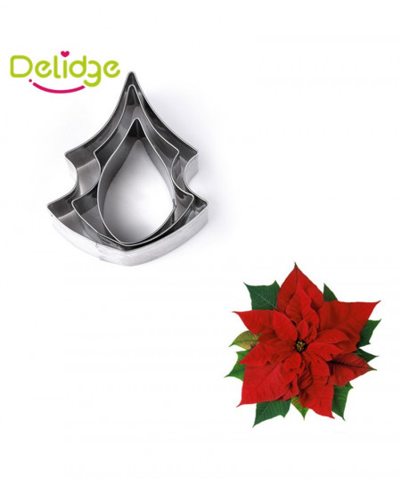 Delidge 3 Poinsettia Flower Cookie Molds AR-4721