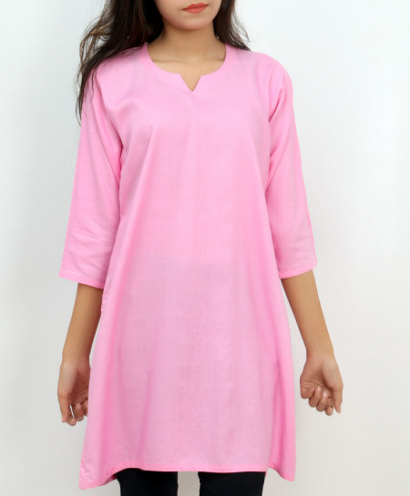 Pink Solid Crew Neck Style Short Kurti FLK-264