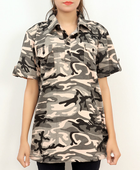 Grey Camouflage Printed Collar Style Ladies Top FLK-270