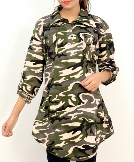 Green Camouflage Printed Collar Style Ladies Top FLK-271