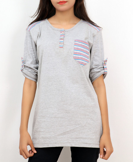 H Grey Stripes Pocket Style Ladies Top FLK-272