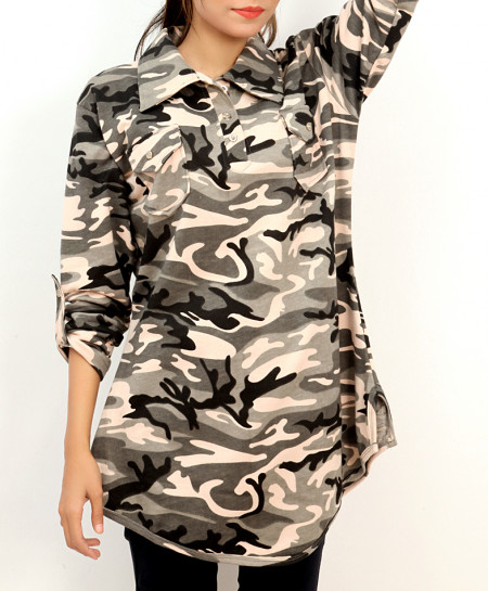 Grey Camouflage Pocket Style Ladies Top FLK-273