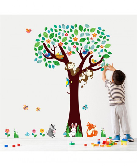 Cartoon Forest Animal Monkeys Rabbit Birds Tree Wall Stickers For Kids Room