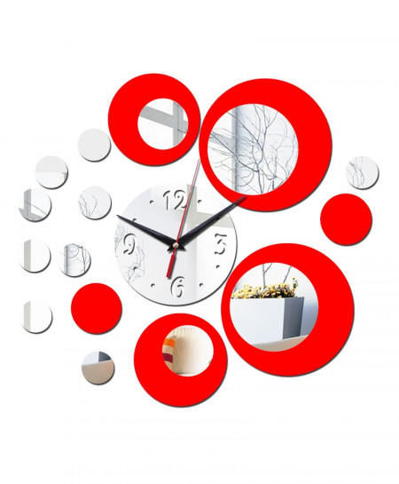DIY Acrylic Red and Silver Rounds Wall Clock