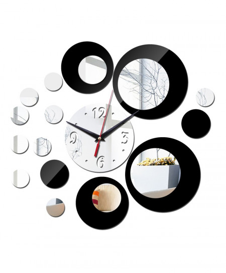 DIY Acrylic Black and Silver Rounds Wall Clock AR-784