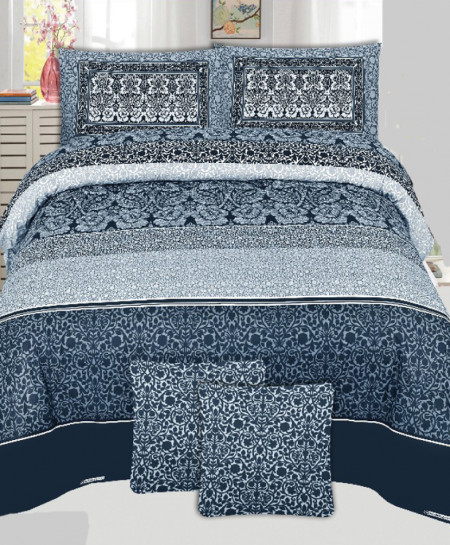 Navy Blue Floral Style Cotton Bedsheet PBS-U11