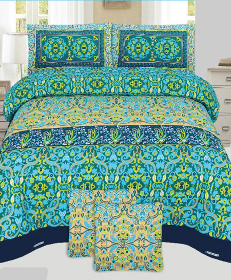 Sea Green Floral Style Cotton Bedsheet PBS-U14