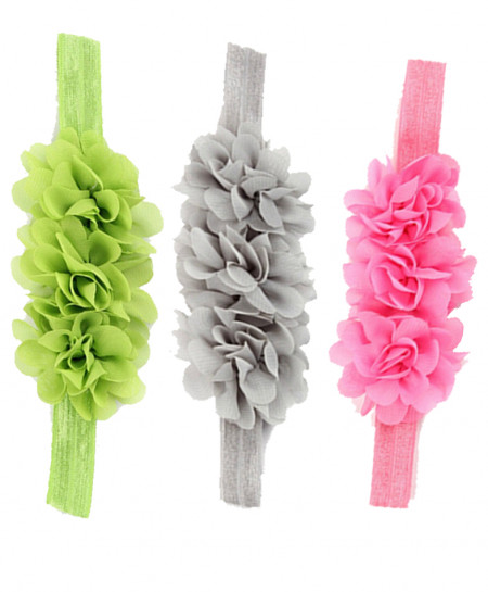 Pack Of 3 Chiffon Silk Flowers Lace Headband SSA-7