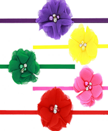 Pack Of 5 Pearl Center Baby Flower Angle Ribbon SSA-24
