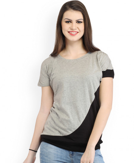 Grey Black Contrast Panel Style Ladies Top FLK-274