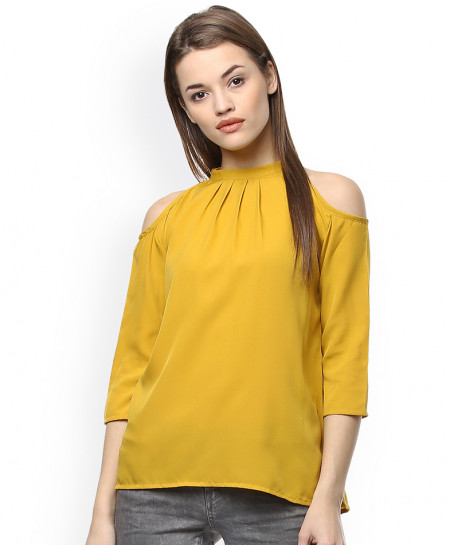 Mustard Cold Shoulder Style Ladies Linen Top FLK-276