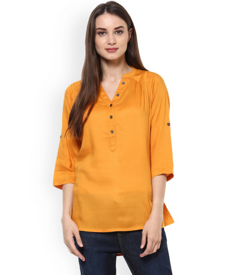 Light Orange V Neck Buttoned Style Short Kurti FLK-279