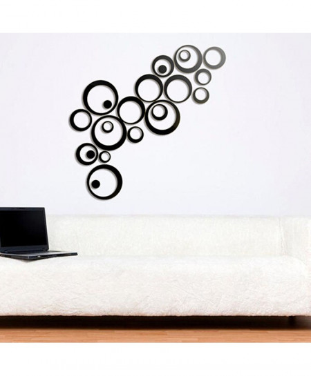 Circles Mirror Style Removable Vinyl Art Wall Sticker
