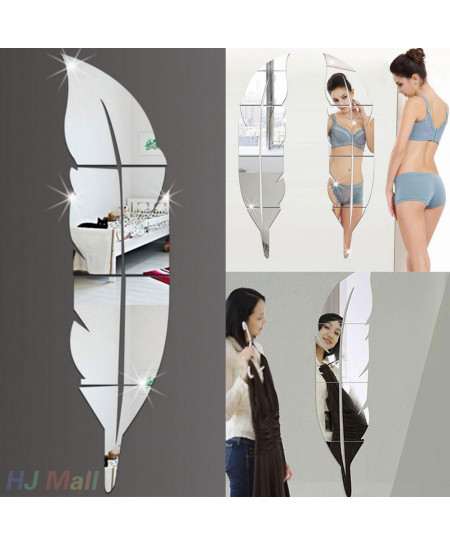 buy feather style acrylic mirror wall stickers online in pakistan