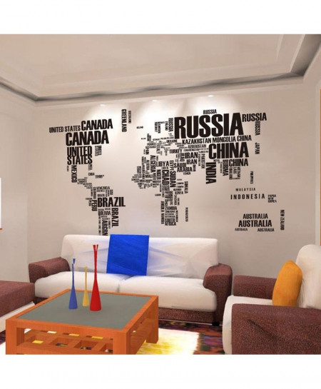 Poster Letter World Map Wall Stickers