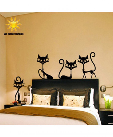 4 Black Fashion Wall Stickers