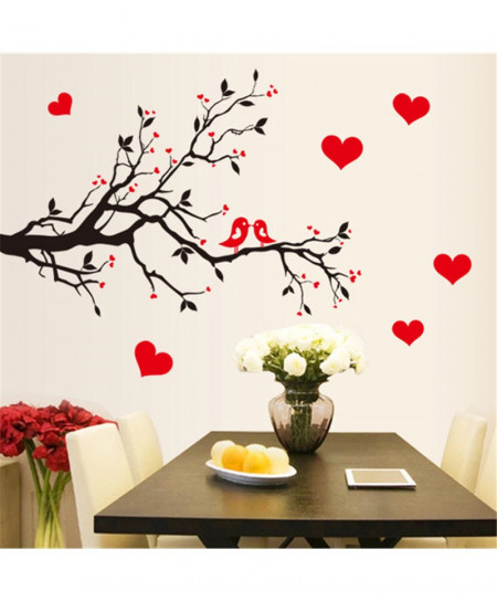 Red Love Birds Wall Stickers