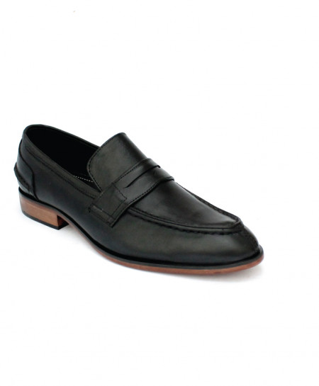 Corio Black Leather Loaf Up Design Shoes CSR-JC-122BL