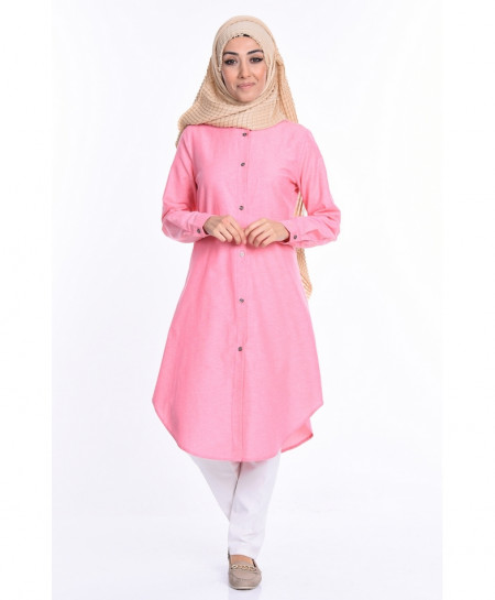 Pink Front Buttoned Tunic Style Short Kurti FLK-289