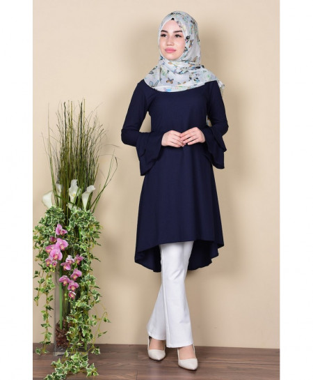 Navy Blue Rose Sleeves Tunic Style Short Kurti FLK-290