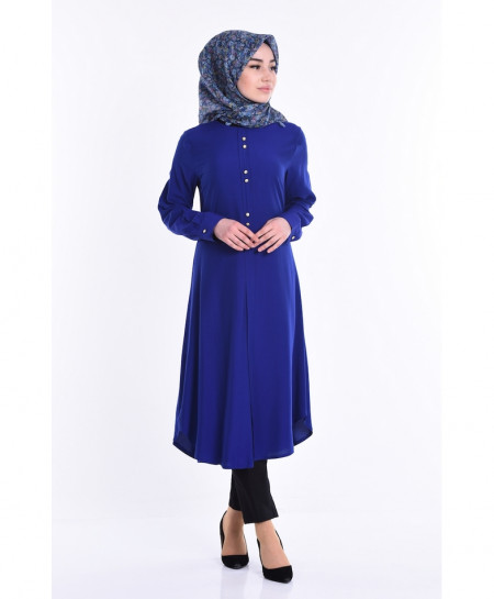 Royal Blue Button Neck Tunic Style Short Kurti FLK-293