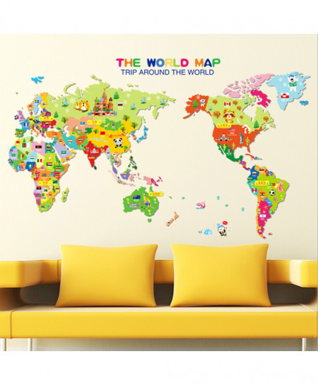 buy animal world map wall sticker for kids room online in pakistan