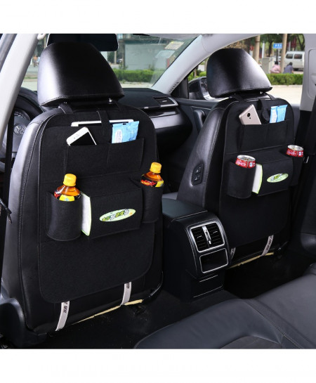 Black Car Back Seat Storage Organizer Trash Net Holder Multi-Pocket Travel Storage Bag Hanger
