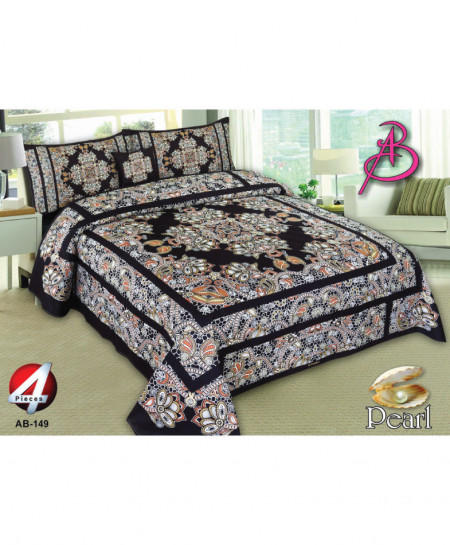 Black Floral Pearl Cotton Bedsheet PBS-AB149