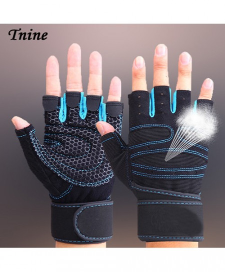 TNINE Blue Body Building Training Fitness WeightLifting Gym Gloves
