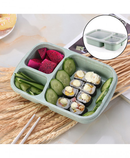 3 Grid Wheat Straw Bento Box With Lid Microwave Food Box AT-940